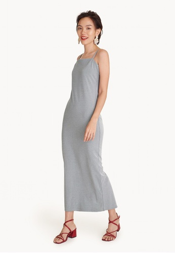 Pomelo grey Spaghetti Strap Maxi Dress - Grey 68F97AA53E4C1FGS_1