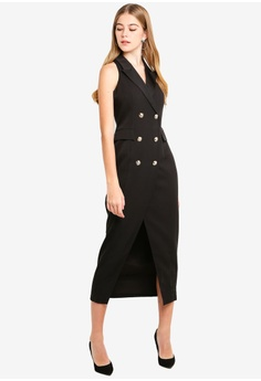 Dressing Paula black Wrap-Effect Cady Tuxedo Dress A2E24AA70578C4GS 1 5446b2a4a