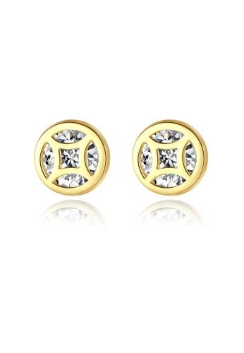 SUNRAIS gold High quality Silver S925 gold copper coin earrings 08DEBAC26447EBGS_1
