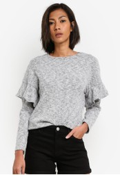 Dorothy Perkins grey Petite Grey Ruffle Shoulder Top DO816AA0S7A5MY_1