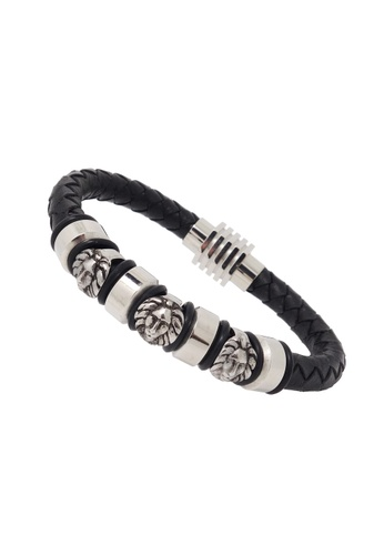 Jaysa Collection black Stainless Steel Lion Heads Bracelet With Magnetic Buckle JA875AC79BSESG_1