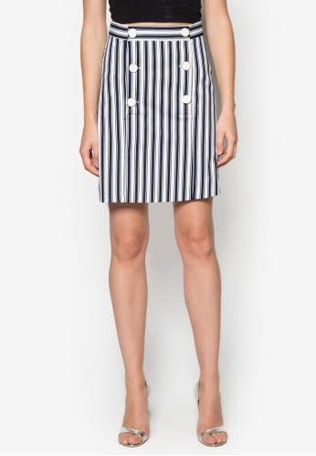 雙排zalora taiwan 時尚購物網鈕條紋短裙, 服飾, 服飾