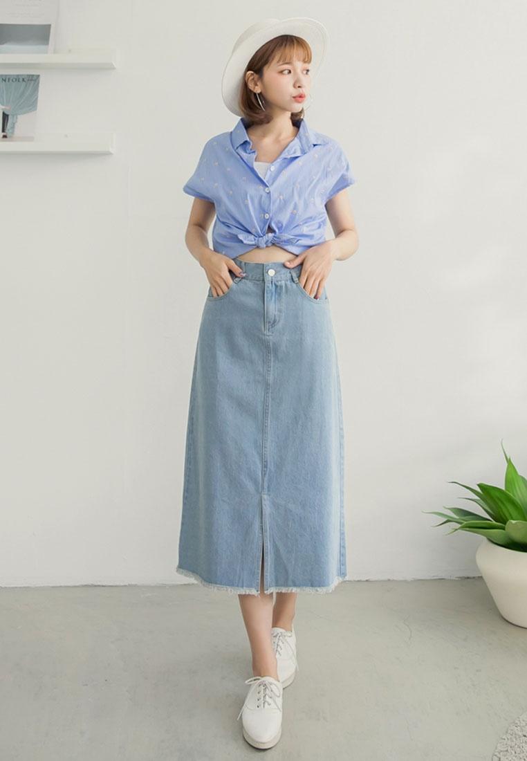 Light Skirt Denim Split Tokichoi Maxi Blue nRHwSCaqx