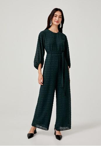 Love, Bonito green Ingrid Dobby Dot Jumpsuit 76911AA24EF60BGS_1