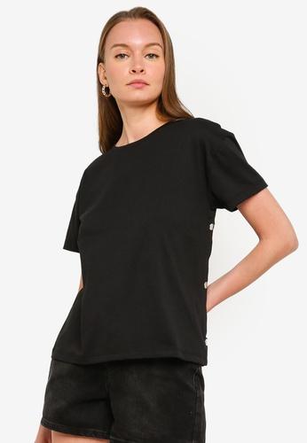 Trendyol black Black Side Snap Button T-Shirt 5BFF5AAFC5C682GS_1