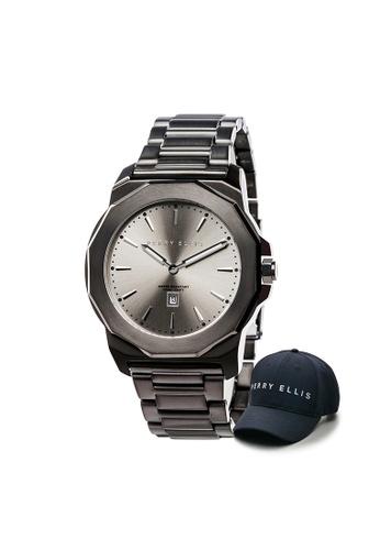 Perry Ellis black Perry Ellis Decagon Unisex 42mm Quartz Stainless Steel Watch 08005-02 with Perry Ellis Cap 8E4AFACD462660GS_1