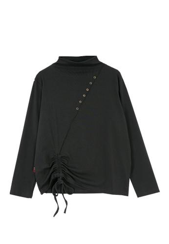 Its Me grey Casual Half High Neck Pleated T-Shirt B1535AA2FD3EECGS_1
