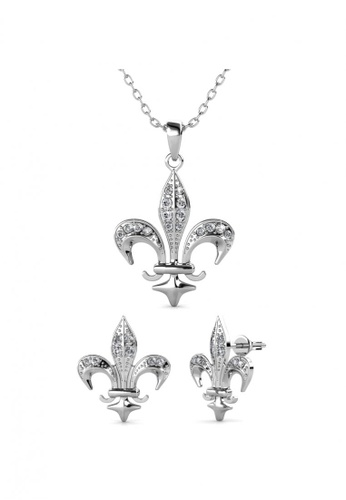 Her Jewellery silver Medieval Set (White Gold) - Made with Premium grade crystals from Austria 94790ACC2E6248GS_1
