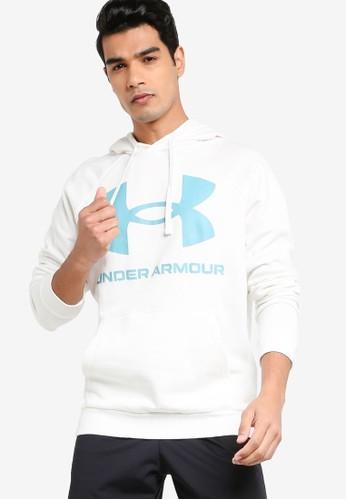 Under Armour white Rival Fleece Big Logo Hoodie 51DD6AAB0D0C63GS_1