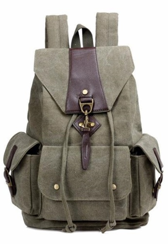 Jackbox green Korean Fashion Large Capacity Metal Hook Canvas Ipad Laptop Bag Backpack 531 (Army Green) D8623AC32BAD30GS_1