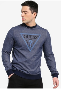 176527d5a52 Guess blue Classic Guess Triangle Logo Sweatshirt FCC6AAADDE2A30GS 1