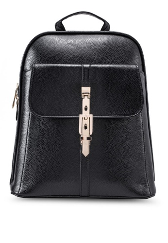 Bagstationz black Bagstationz Pebbled Texture Backpack With Metal Lock BA607AC08KIHMY_1