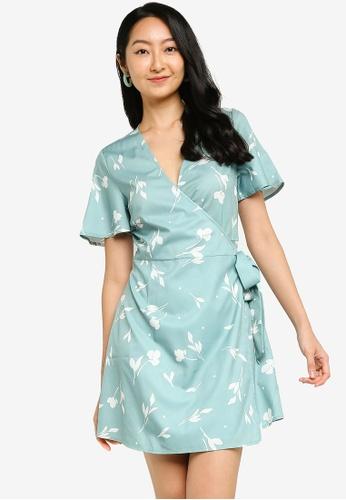 ZALORA BASICS green Short Sleeve Wrap Mini Dress 40002AA6A8F80BGS_1