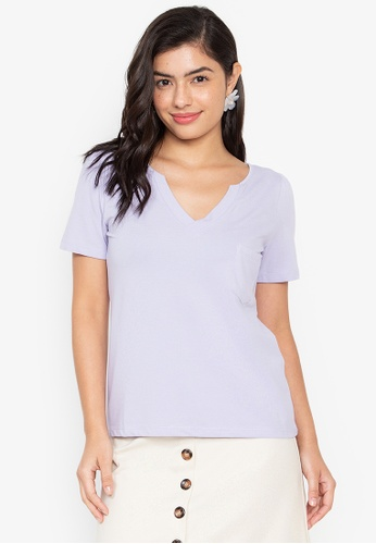 Wear Kris purple Kent Vneck Shirt with Front Pocket 8CC5AAA5953EFCGS_1