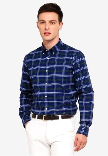 Brooks Brothers 藍色 長袖格紋襯衫 4895FAA1C257EBGS_1