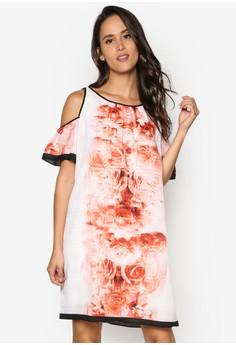 Printed New Gause Cold Shoulder Dress