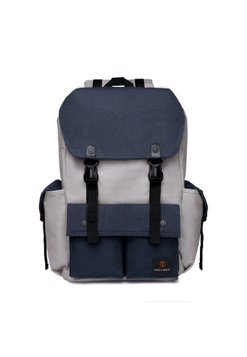 The Dude grey and navy Predator Backpack TH373AC75YXGHK_1
