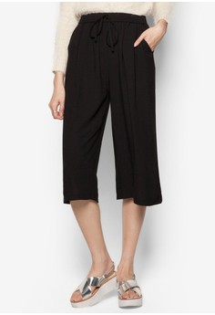 Basic Linen-Like Drawstring Pants With Wide Leg