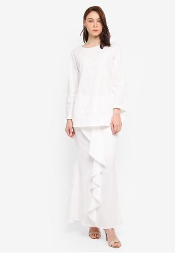 BYN white Kurung Modern 66B31AA2065601GS_1