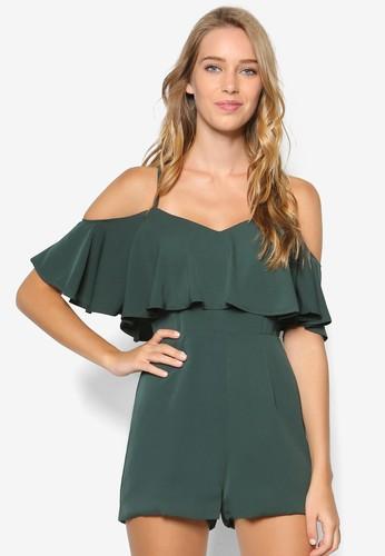 Mezalora時尚購物網評價lony 素色層次挖肩連身褲, 服飾, 連身褲