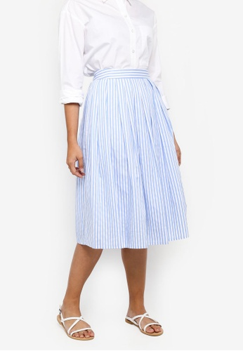 Something Borrowed blue Pleated Midi Skirt 62FC4AAD3EE176GS_1
