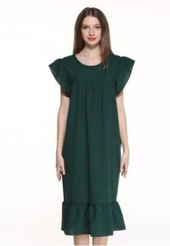 Sunnydaysweety 綠色 啡色蝴蝶袖連身裙 K20061603GR 082C6AA9CF70EFGS_1