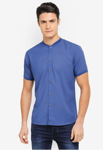 ZALORA blue Rib Baseball Collar Short Sleeve Shirt 80A35AA8C2BD15GS_1