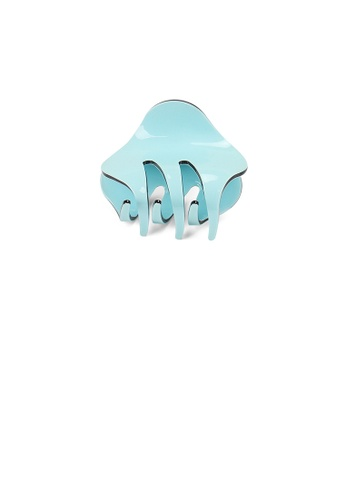 Glamorousky silver Simple and Cute Light Blue Geometric Small Hair Claw E2503AC0553DA7GS_1