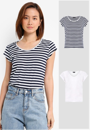 ZALORA BASICS white and multi and navy 2 Pack Essential Scoop Neck Tee ZA274AA0JFNHSG_1