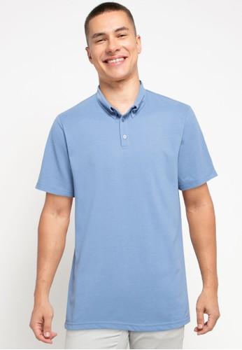 Tolliver blue Button Detail Polo Shirt E6A08AA88FDC84GS_1