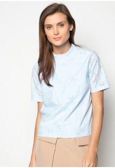 Short Sleeves Turtle Neck Lace Top