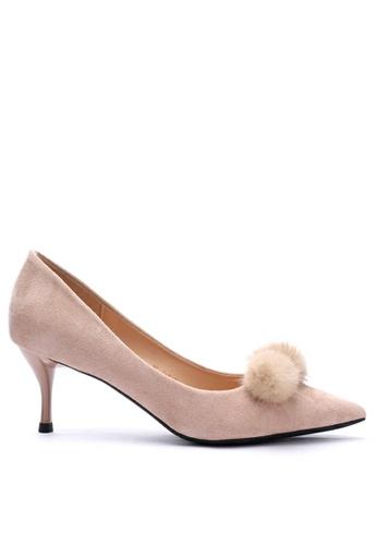 Twenty Eight Shoes 6.5CM Fur Ball Suede Fabric Mid Heel 208-31 3BC97SH1C0562AGS_1
