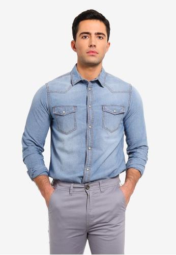OVS 灰色 丹寧襯衫 With Stitching C0CC4AA09D15F4GS_1