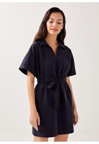 Love, Bonito blue Becky Elastic Belted Shirt Dress 35AB0AA3B0839CGS_1