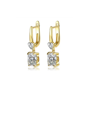 Glamorousky white Fashion and Simple Plated Gold Heart-shaped Geometric Square Earrings with Cubic Zirconia C3870AC06BE471GS_1