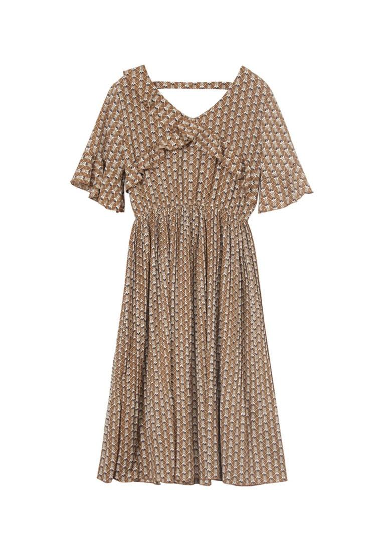Tokichoi Dress Sleeve Floral Ruffled Cocoa zpxgfvn