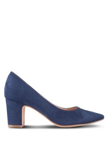 ZALORA 海軍藍色 Minimalist Low Heels 43130SHD780D0BGS_1