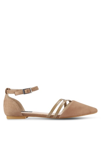 ZALORA brown and beige Pointed D'Orsay Flats 0028DSHB039C5AGS_1