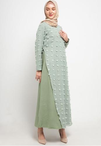 AZZAR green Jane Maxi Dress in Tosca 0F58CAAF3A0C77GS_1