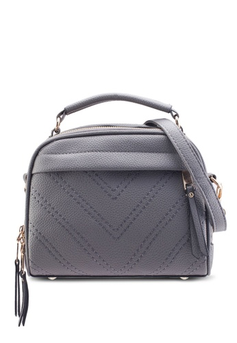Bagstationz 灰色 Bagstationz Quilted Convertible Satchel With Top Handle BA607AC85KJEMY_1
