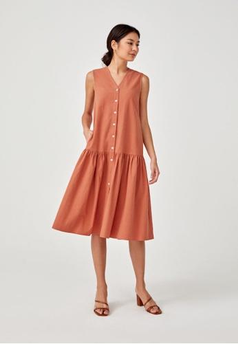 Love, Bonito brown Lysandra Textured Button Down Midaxi Dress 606B0AA345ABDDGS_1