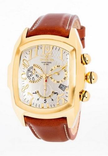 INVICTA gold Invicta Lupah Men 47mm Case Brown Leather Strap Silver Dial Quartz Watch 13693 w/ Cap IN968AC0FG46SG_1