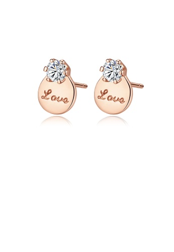 Glamorousky white 925 Sterling Silver Plated Rose Gold Simple Romantic LOVE Geometric Round Cubic Zirconia Stud Earrings A34DEACD3CAF6BGS_1