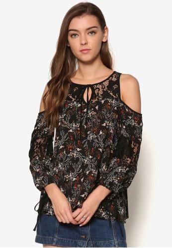 花卉挖肩繫帶長袖上衣, 服飾, 印esprit 價位花時代