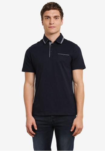 Burton Menswear London navy Navy Double Collar Polo Shirt BU964AA0S2B8MY_1