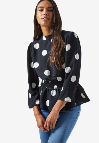 Dorothy Perkins black Black Spotted Peplum Top 1BEB1AA95FD415GS_1
