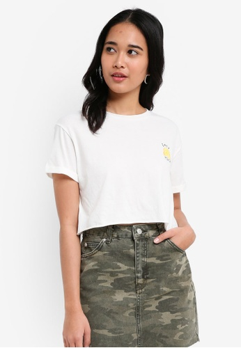TOPSHOP white 'Easy Peasy' Slogan Cropped T-Shirt 0FE58AAACF0AE7GS_1