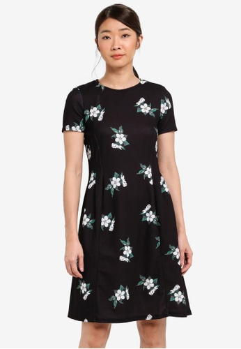Dorothy Perkins black Black Floral Fit And Flare 1D841AA9A38C5CGS_1