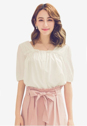 YOCO white Buttoned Up Square Neck Blouse A502CAA0CA1F8CGS_1