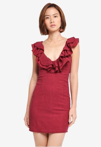 INDIKAH red Ruffle Neck Bodycon Dress DC975AA02C7921GS_1